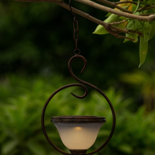 Luxen Home WHSL461 6.5 in. Dia. Solar Hanging Accent Light with Scroll Design Perspective: front