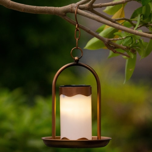 Luxen Home WHSL464 Hanging Copper Solar Light Lantern Perspective: front