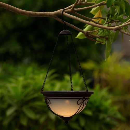 Luxen Home WHSL467 7.1 in. Dia. Solar Hanging Accent Light with Scroll Design Perspective: front