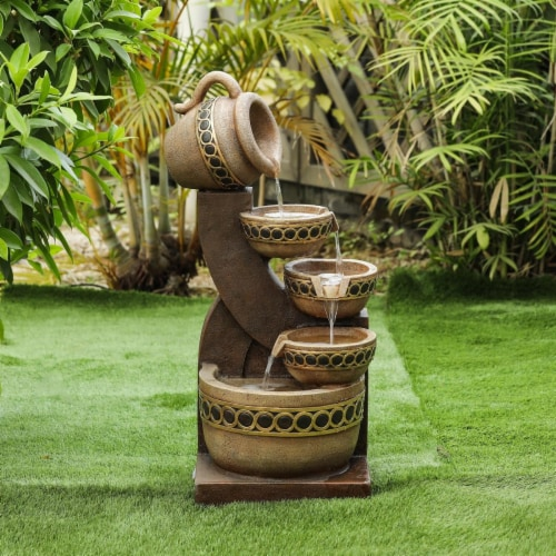 Luxen Home Cement & Resin Cascading Pitchers Outdoor Fountain Perspective: front