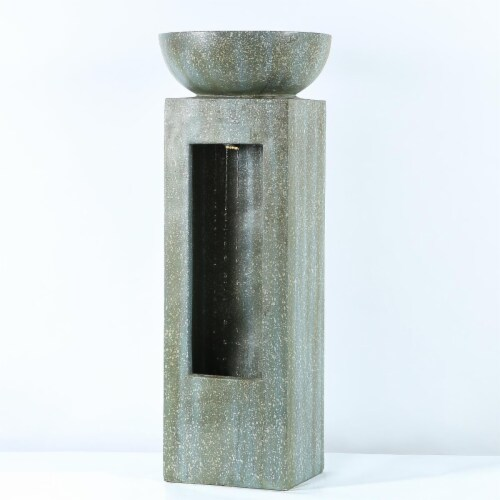 Luxen Home 31.7 in. Stone & Patina Finish Bowl on Square Pedestal Fountain Perspective: front