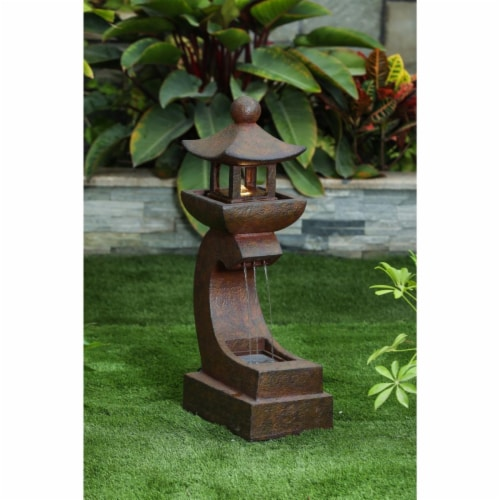Luxen Home WHF483 30.9 in. Asian Pagoda Fountain with LED Light Perspective: front