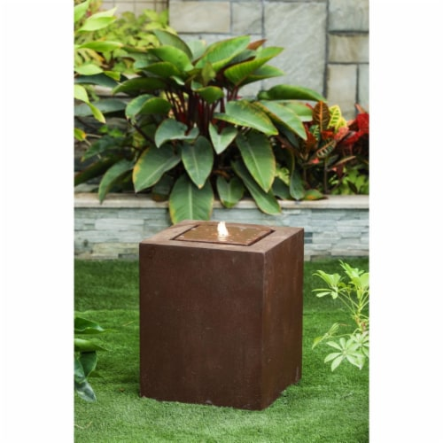 Luxen Home Aged Bronze Square Fountain with LED Light Perspective: front