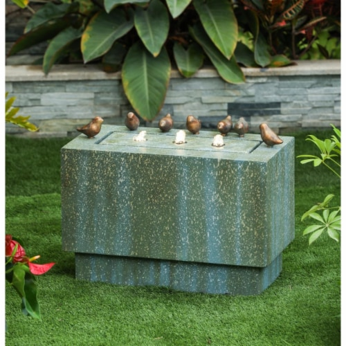 Luxen Home Stone and Patina Rectangular Fountain with LED Lights and Bronze Birds Perspective: front