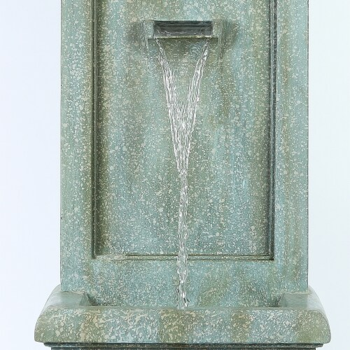 Luxen Home WHF486 39.5 in. Stone & Patina Tall Fountain Perspective: front