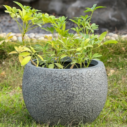 Luxen Home  16.3 in. Dia. MgO Fiberclay Textured Planter  Grey Perspective: front