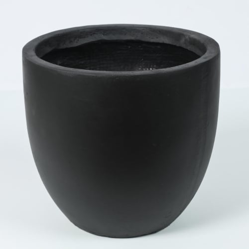 Luxen Home Round Stone Finish Planter  Black - Small Perspective: front