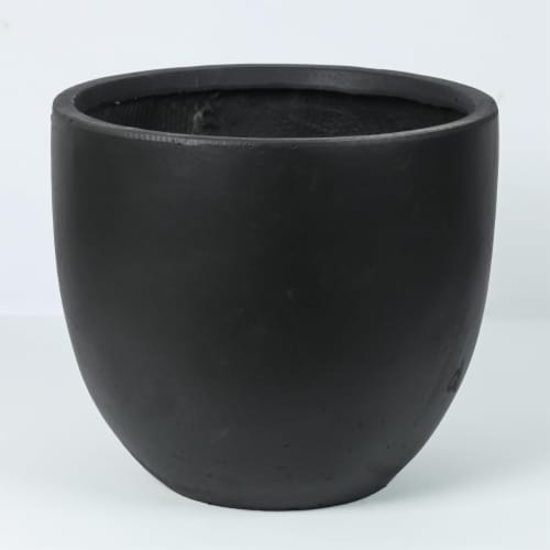 Luxen Home WH034-B Round Stone Finish Planter  Black - Medium Perspective: front
