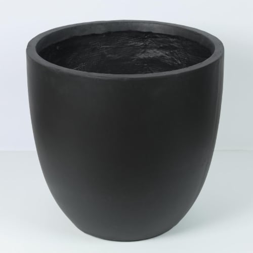 Luxen Home Round Stone Finish Planter  Black - Large Perspective: front