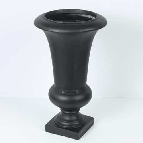 Luxen Home Stone Finish Urn Planter  Black - Small Perspective: front