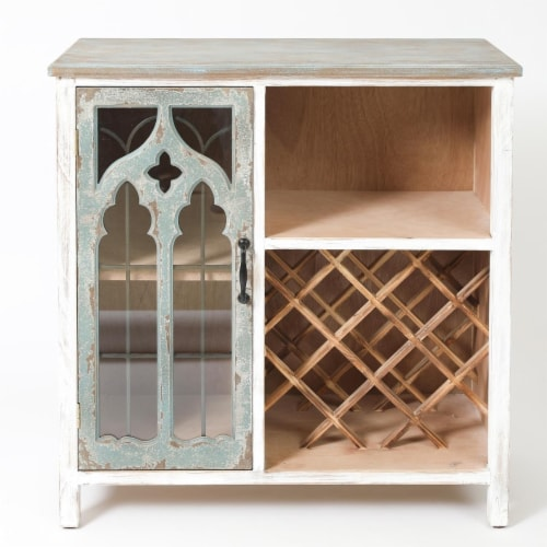LuxenHome Distressed Gray and White Wood Storage Wine Cabinet Perspective: front