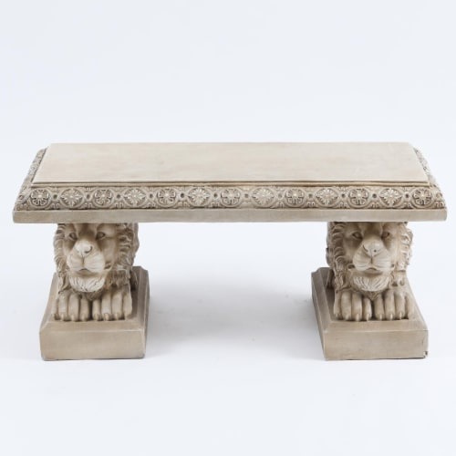 Luxen Home WHOF552 39 in. MgO Lion Decorative Garden Bench - Beige Perspective: front