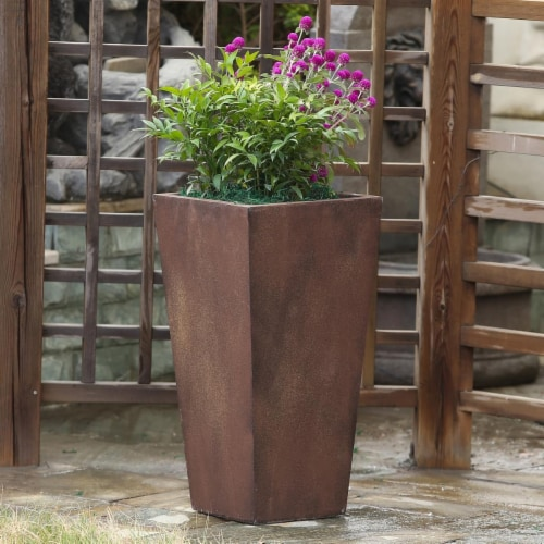 Luxen Home Classic Bronze Tall Angled Planter - Medium Perspective: front