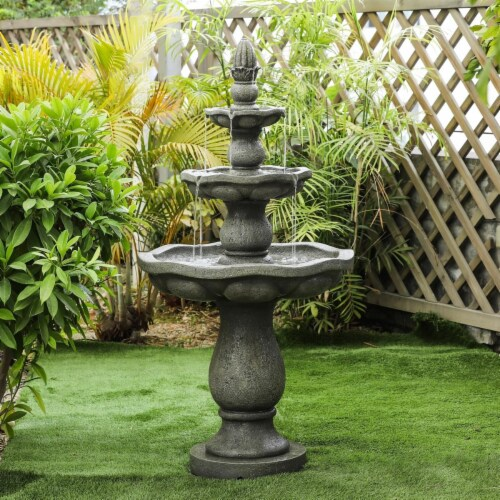 Luxen Home Roma Resin 3-Tier Stone Finish Outdoor Fountain Perspective: front