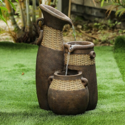 Luxen Home Roma Resin Three Pitchers Outdoor Fountain Perspective: front