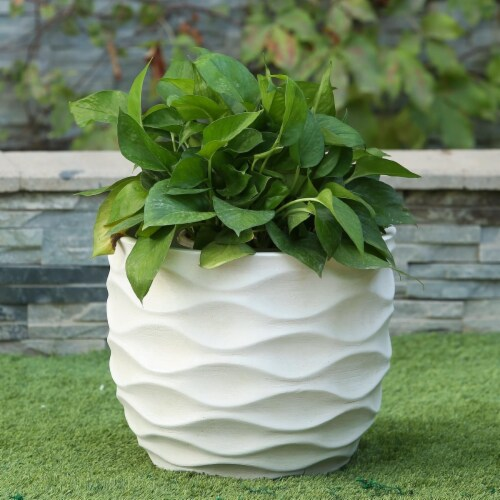 Luxen Home White Wavy Design Planter - Large Perspective: front