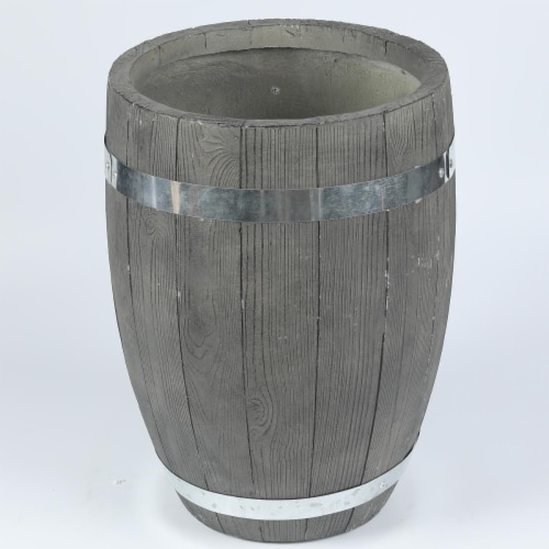 Luxen Home 13 in. Dia. Mgo Fiberclay Plank Style Planter Perspective: front