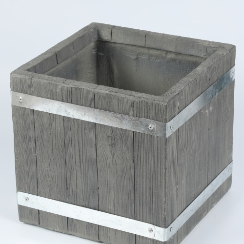 Luxen Home 12.4 in. Square Mgo Fiberclay Plank Style Planter Perspective: front
