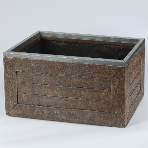 Luxen Home 13 x 24 in. Rectangular Mgo Fiberclay Crate Style Planter Perspective: front