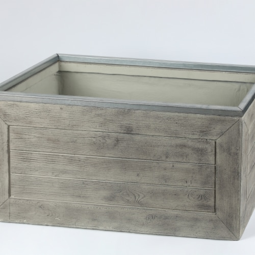 Luxen Home 15.6 x 30 in. Rectangular Mgo Fiberclay Crate Style Planter Perspective: front