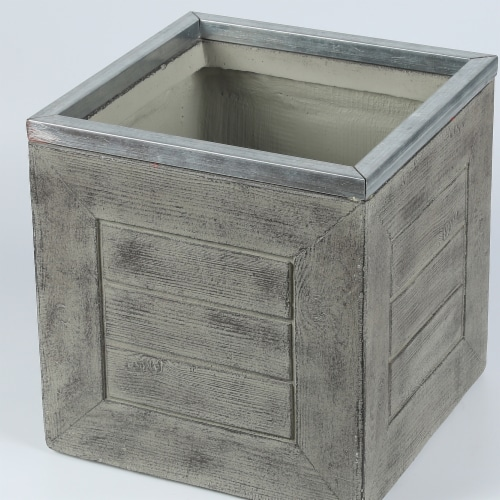 Luxen Home 13 in. Square Mgo Fiberclay Crate Style Planter Perspective: front