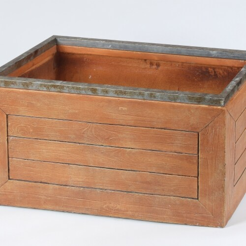 Luxen Home 13 in. Rectangular Mgo Fiberclay Crate Style Planter Perspective: front