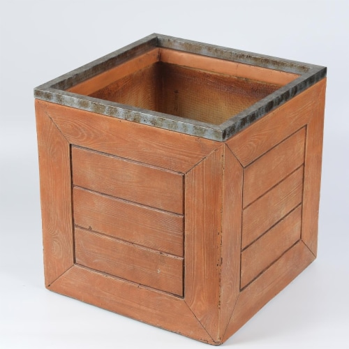 Luxen Home 16.5 in. Square Mgo Fiberclay Crate Style Planter Perspective: front