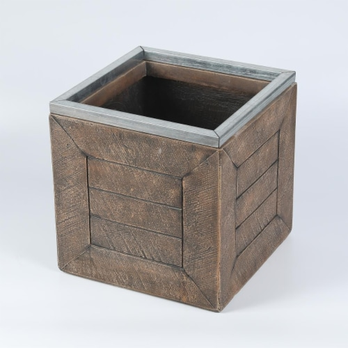Luxen Home WHPL716 13 in. Square Mgo Fiberclay Crate Style Planter Perspective: front