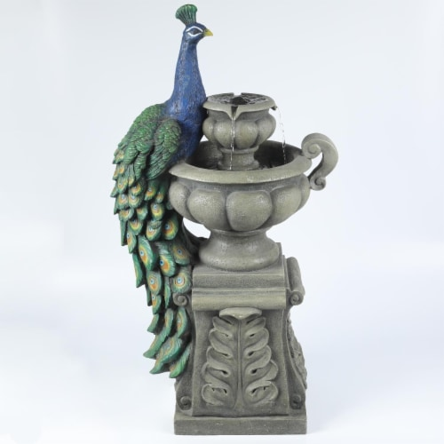Luxen Home Resin Roma Tiered Urns and Peacock Outdoor Patio Fountain Perspective: front