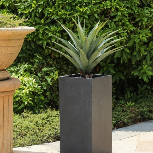 Luxen Home Smooth Tall MgO Planter, Gray - Large Perspective: front