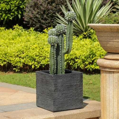 Luxen Home Stone Finish Square MgO Planter, Gray - Large Perspective: front