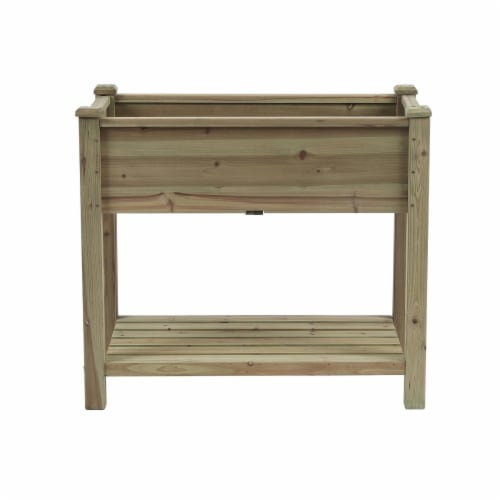 Luxen Home WHPL885 34 in. Wood Rectangular Raised Garden Planter, Brown Perspective: front