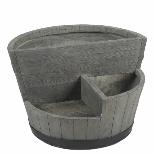 Luxen Home WHPL920 MgO Sectional Barrel-Style Planter, Gray Perspective: front
