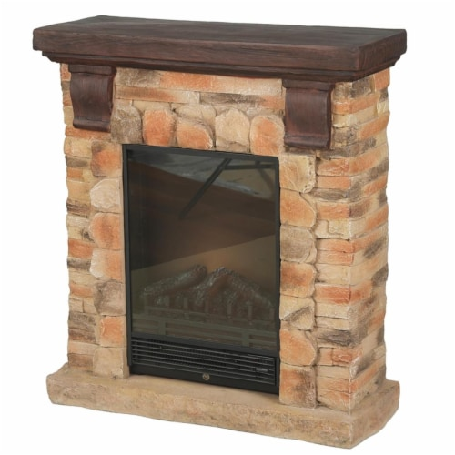 Winsome House WHIF993 Polystone Brick Free Standing Electric Fireplace Heater Mantel with Rem Perspective: front