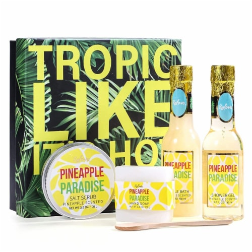 Pineapple Scent Spa Sets with Bubble Bath/Shower Gel/Soap, Bath Gift Set Perspective: front