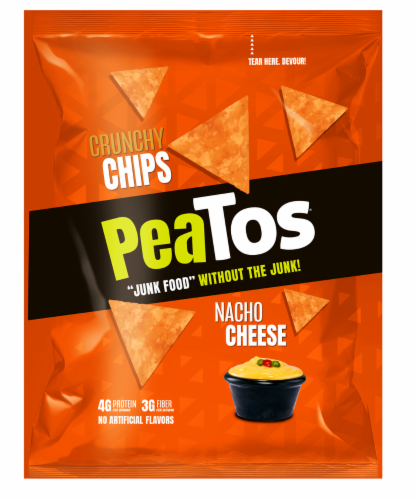 Peatos Nacho Cheese Crunchy Chips Perspective: front