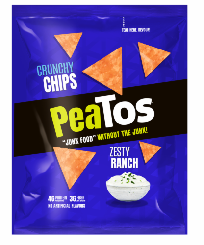 Peatos Zesty Ranch Crunchy Chips Perspective: front