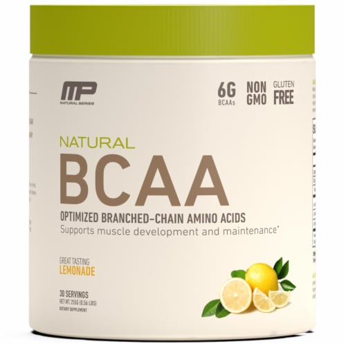 MusclePharm Lemonade Natural BCAA Optimized Branched-Chain Amino Acids Dietary Supplement Perspective: front