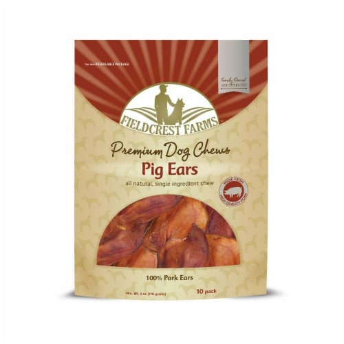 Ethical Pet 810002631290 Fieldcrest Farms Pig Ears Smoked - Pack of 10 Perspective: front