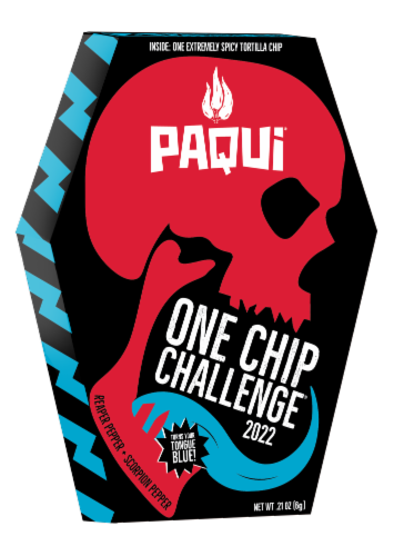 Paqui® One Chip Challenge Coffin Tortilla Chip Perspective: front