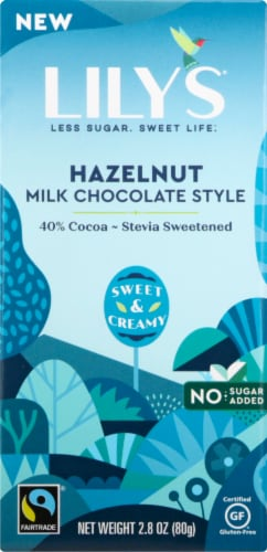 Lily's No Sugar Added 40% Cocoa Hazelnut Milk Chocolate Style Bar Perspective: front