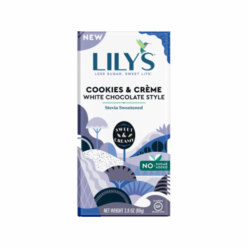 Lily's Cookies and Creme White Chocolate Style Bar Perspective: front