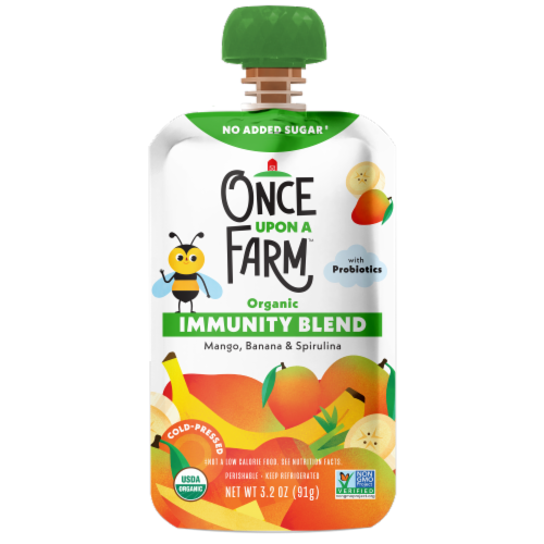 Once Upon a Farm™ Organic Mango Banana & Spirulina Immunity Blend Pouch Perspective: front