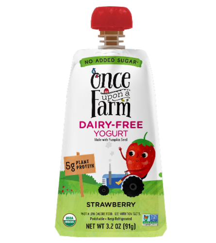Once Upon a Farm Organic Strawberry Kids Dairy-Free Yogurt Perspective: front