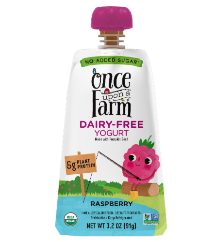 Once Upon a Farm Organic Raspberry Kids Dairy-Free Yogurt Perspective: front