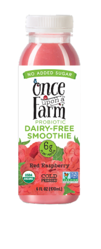Once Upon A Farm Red Raspberry Probiotic Dairy-Free Smoothie Perspective: front