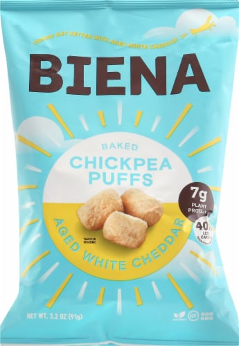 Biena Aged White Cheddar Baked Chickpea Puffs Perspective: front