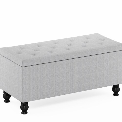 Furinno FB19113GL Laval Button Tufted Storage Ottoman Bench for Entryway & Bedroom, Glacier Perspective: front