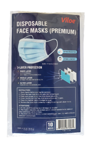 Viloe Disposable Face Masks Perspective: front