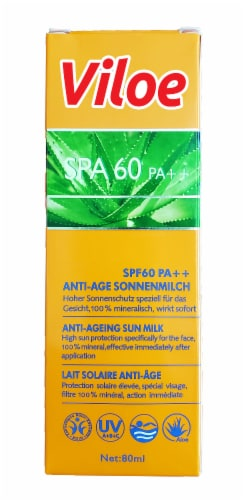Viloe Anti-Aging Sun Milk SPF 60 Aloe Suncreen Perspective: front